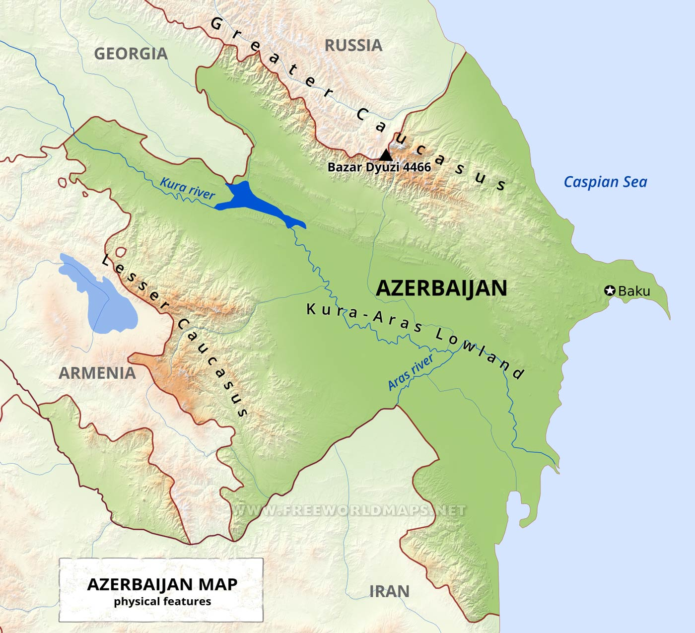 Azerbaijan Physical Map
