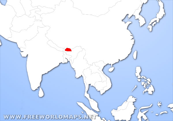 Where is Bhutan located on the World map?