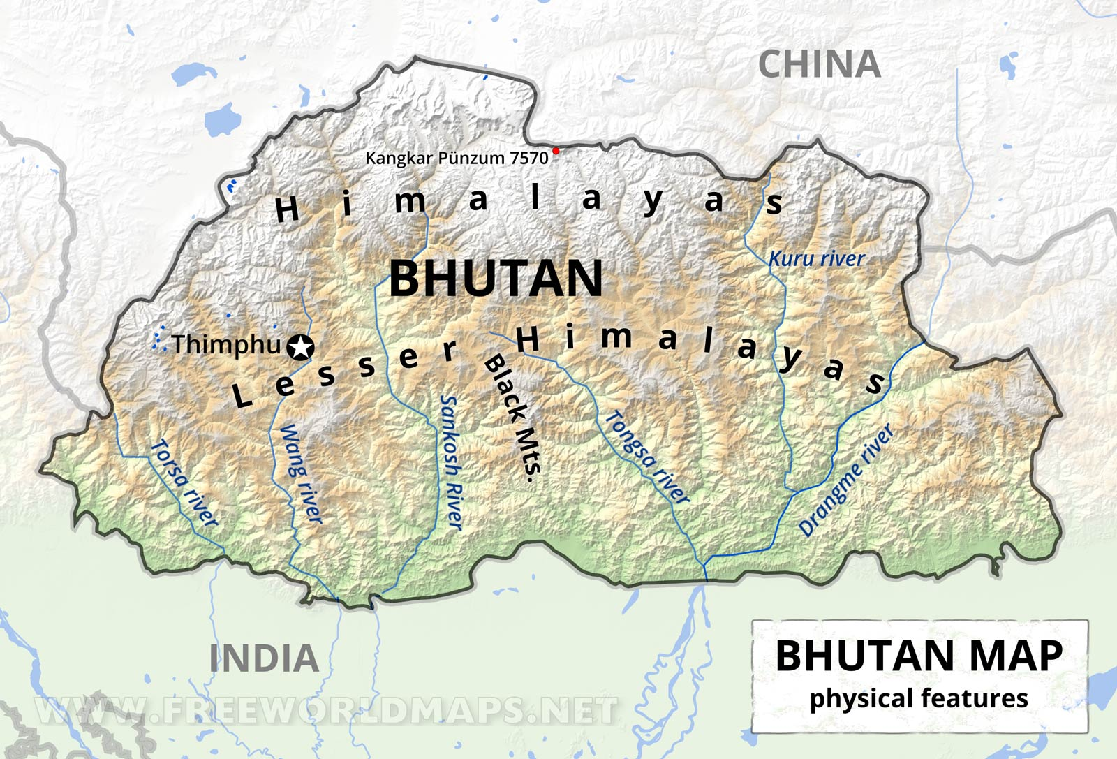 Map Of Asia Bhutan.Bhutan Physical Map