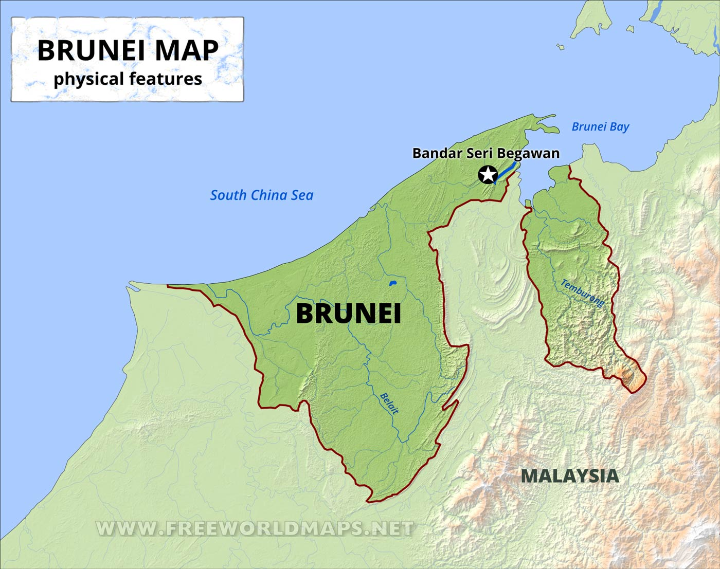 Picture of: Brunei Physical Map