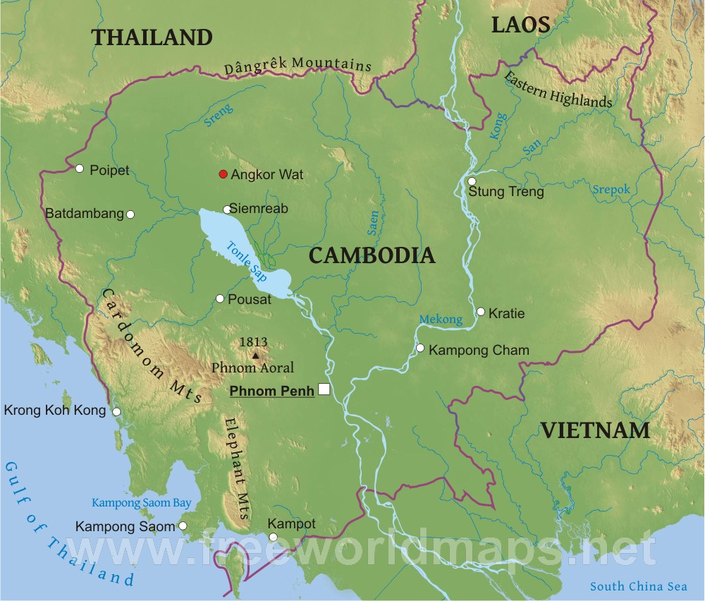 Cambodia Physical Map on