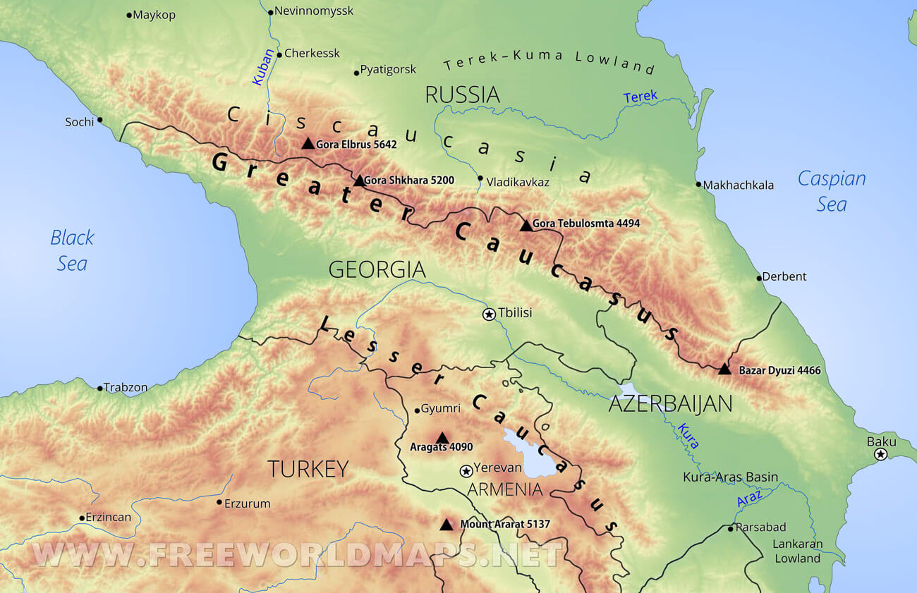 Map Of Asia Mountains.Caucasus Mountains Map