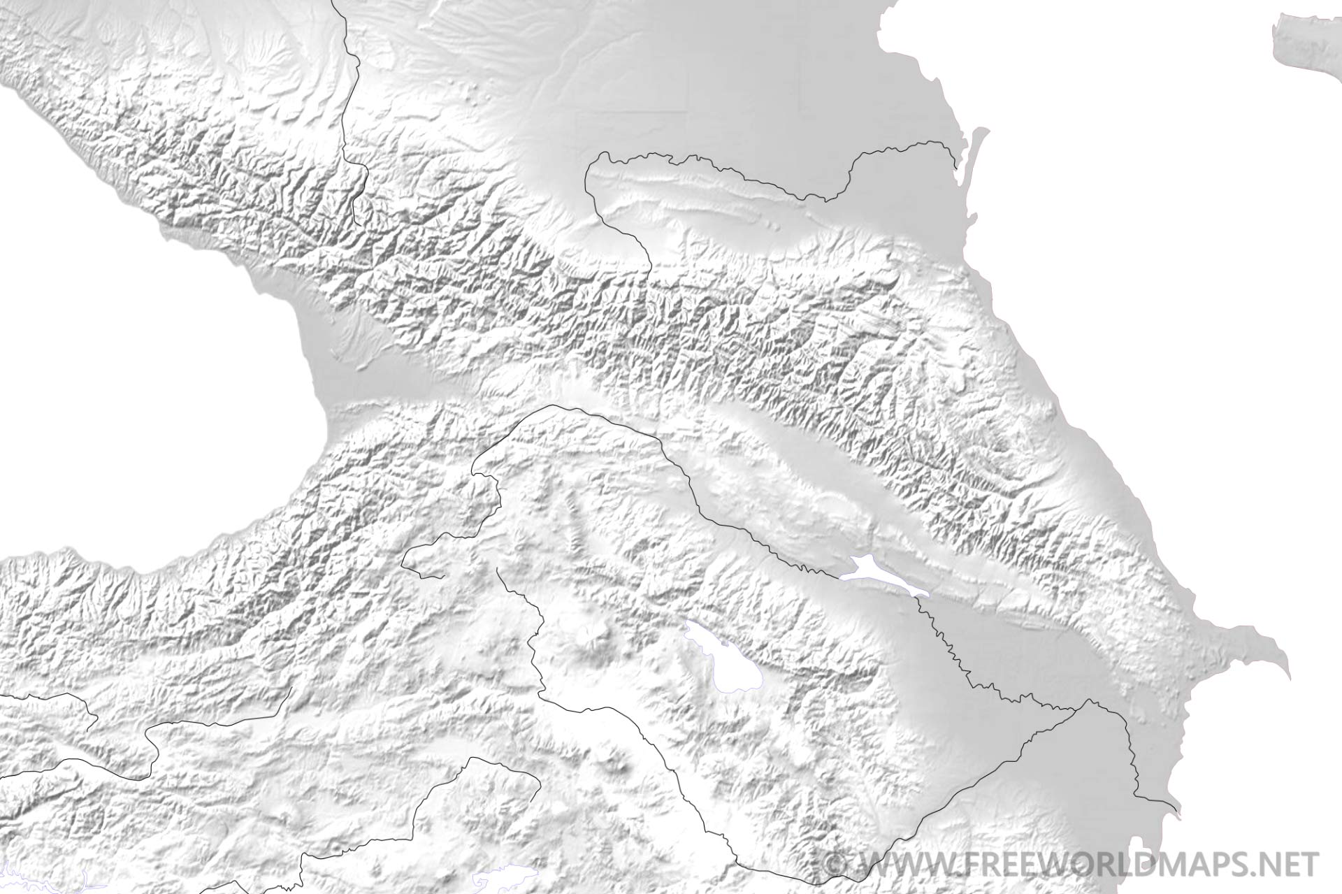 Caucasus Mountains Map on