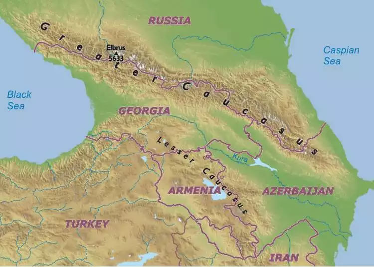 Caucasus Mountains World Map Caucasus Mountains Map Caucasus Mountains World Map