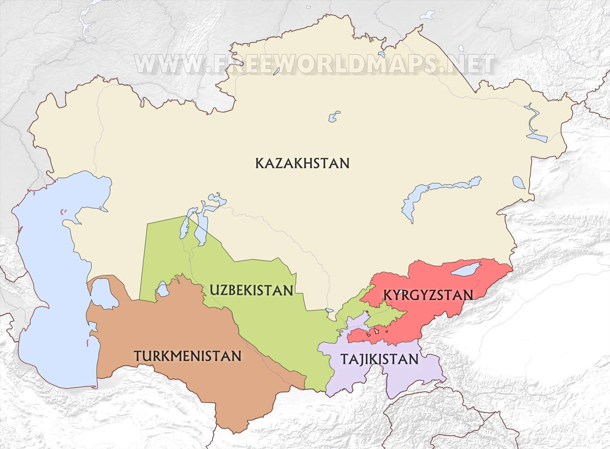 Blank Map Of Asia Countries.Central Asia Maps