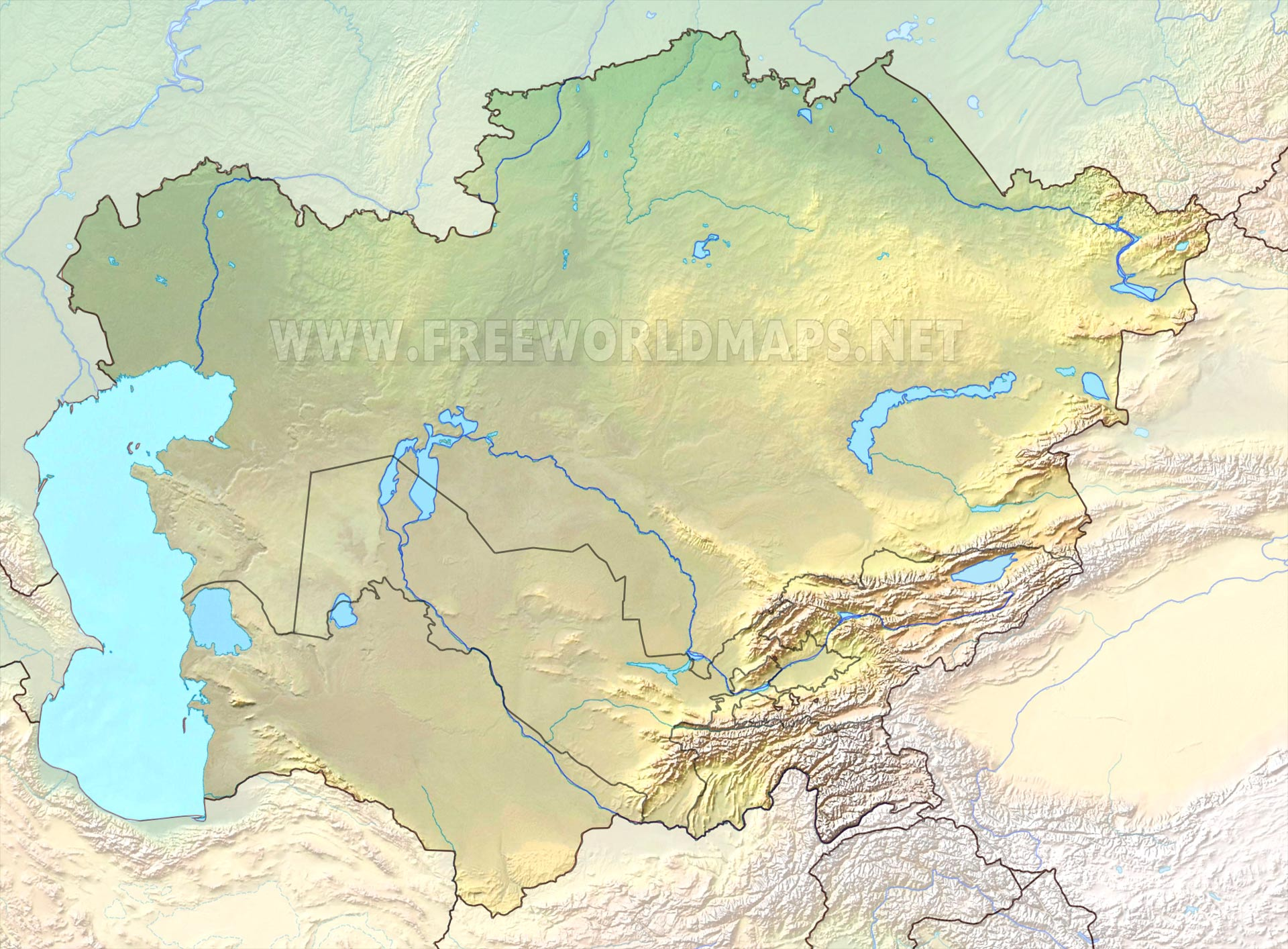 Physical Map Central Asia Central Asia Physical Map