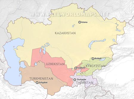 Political Map Of Central Asia.Central Asia By Freeworldmaps Net