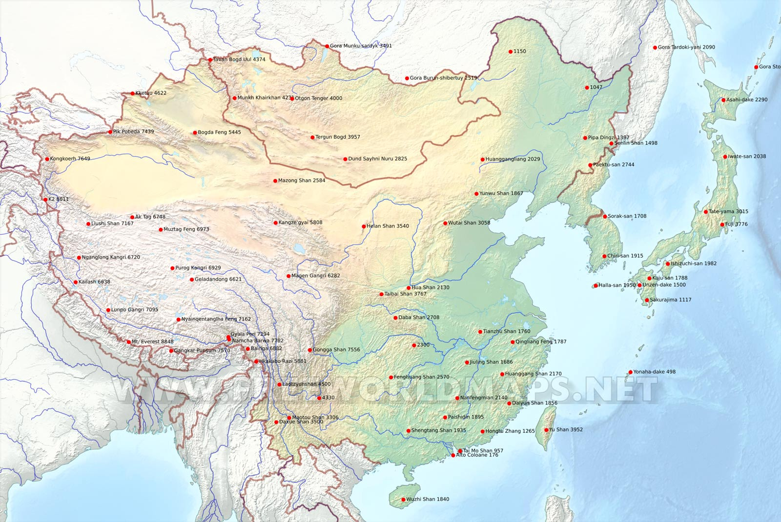 Map Of Asia Mountains And Rivers.East Asia Physical Map
