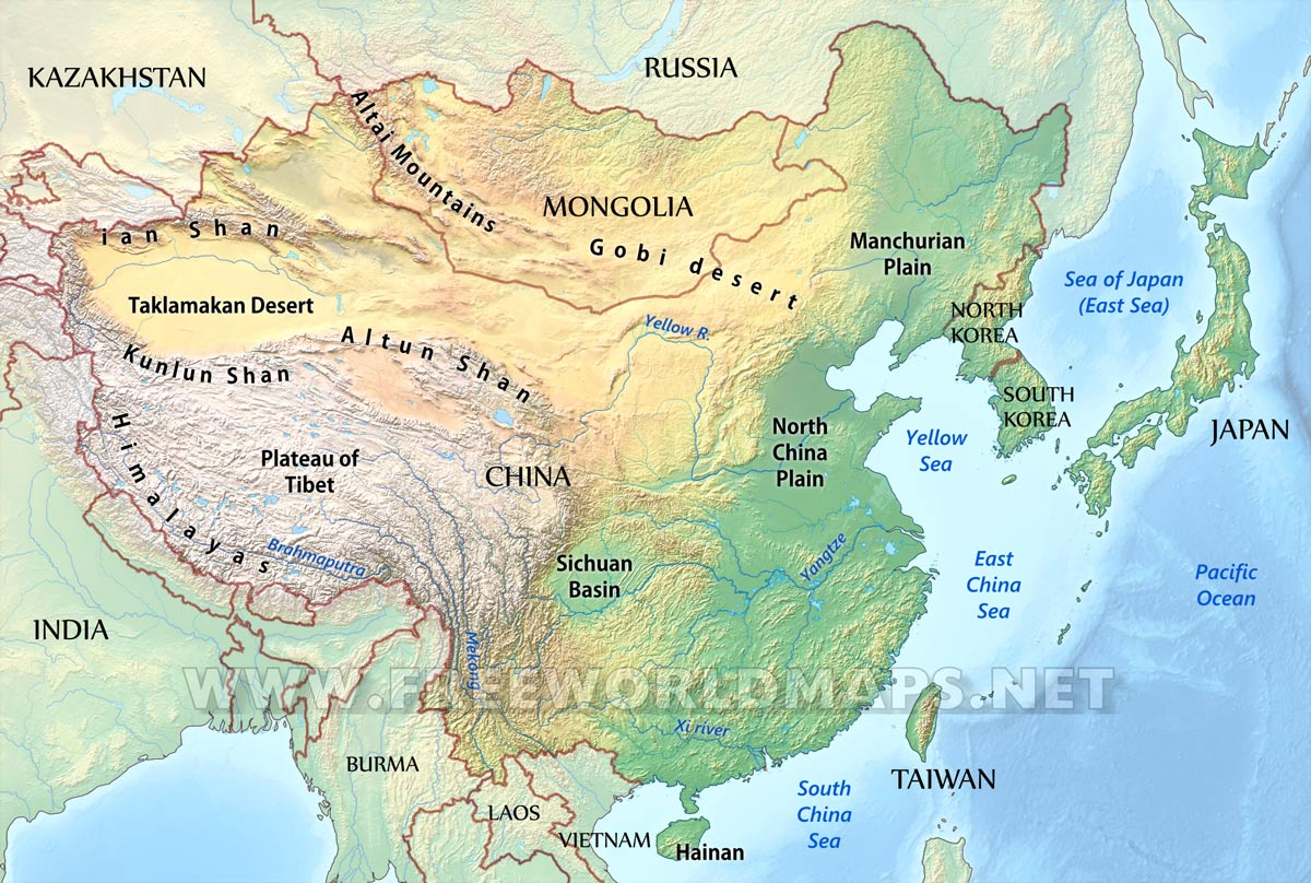 China On Map Of Asia.East Asia Physical Map