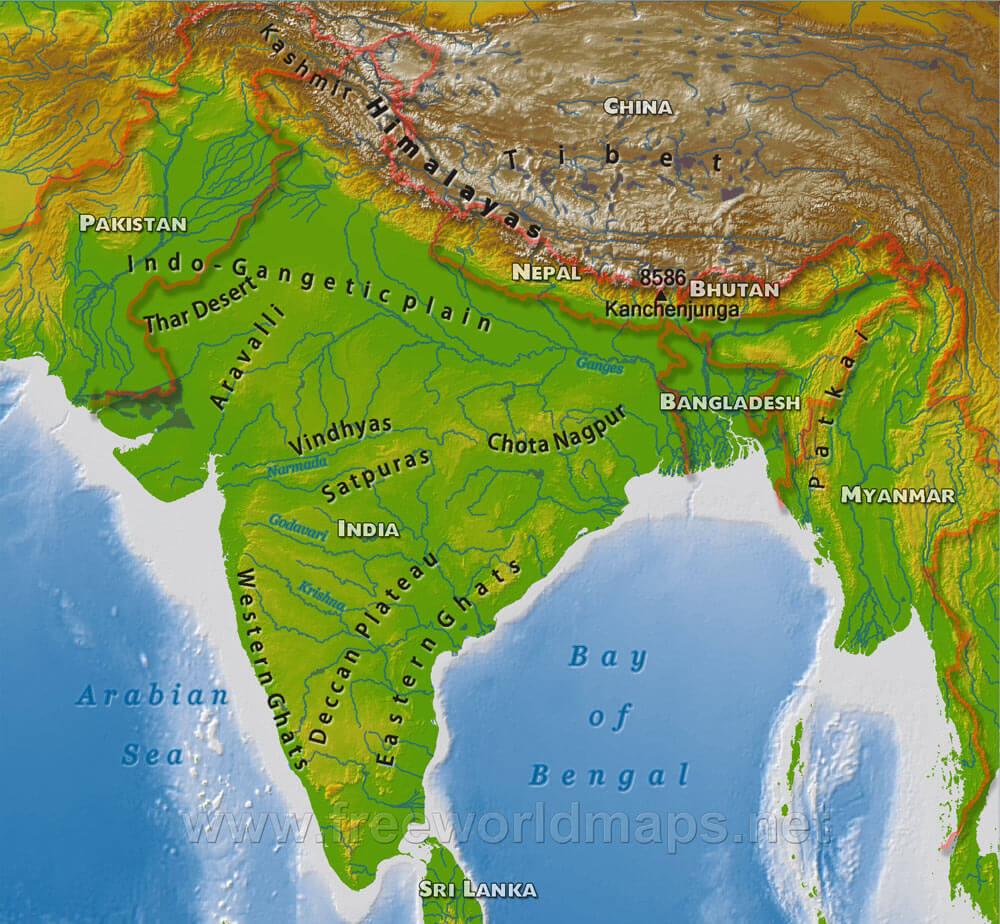 India Map Physical India Physical Map