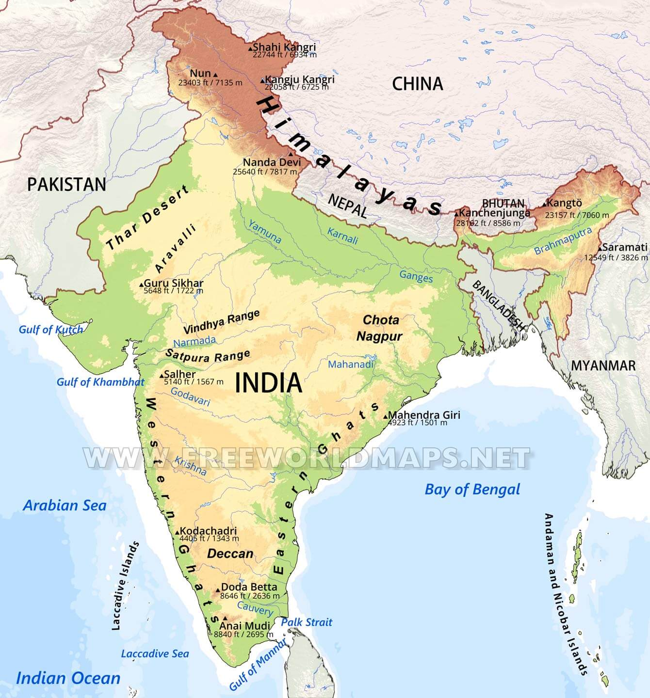Map Of Asia Mountains.India Physical Map