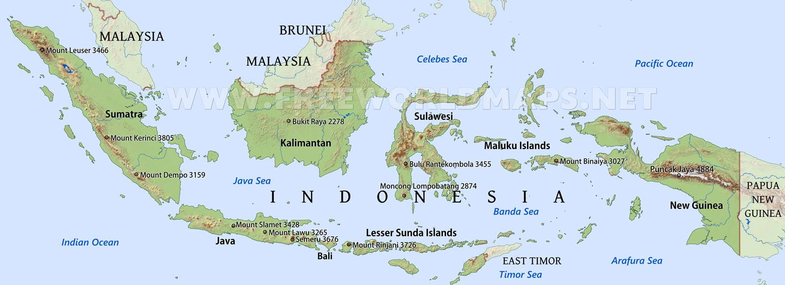 Indonesia Map Images Indonesia Physical Map
