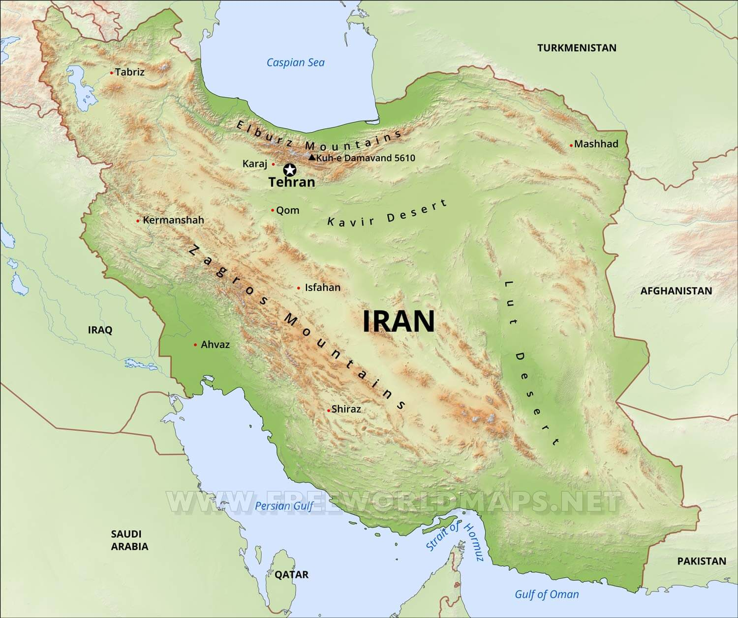 Map Of Iran Iran Physical Map Map Of Iran