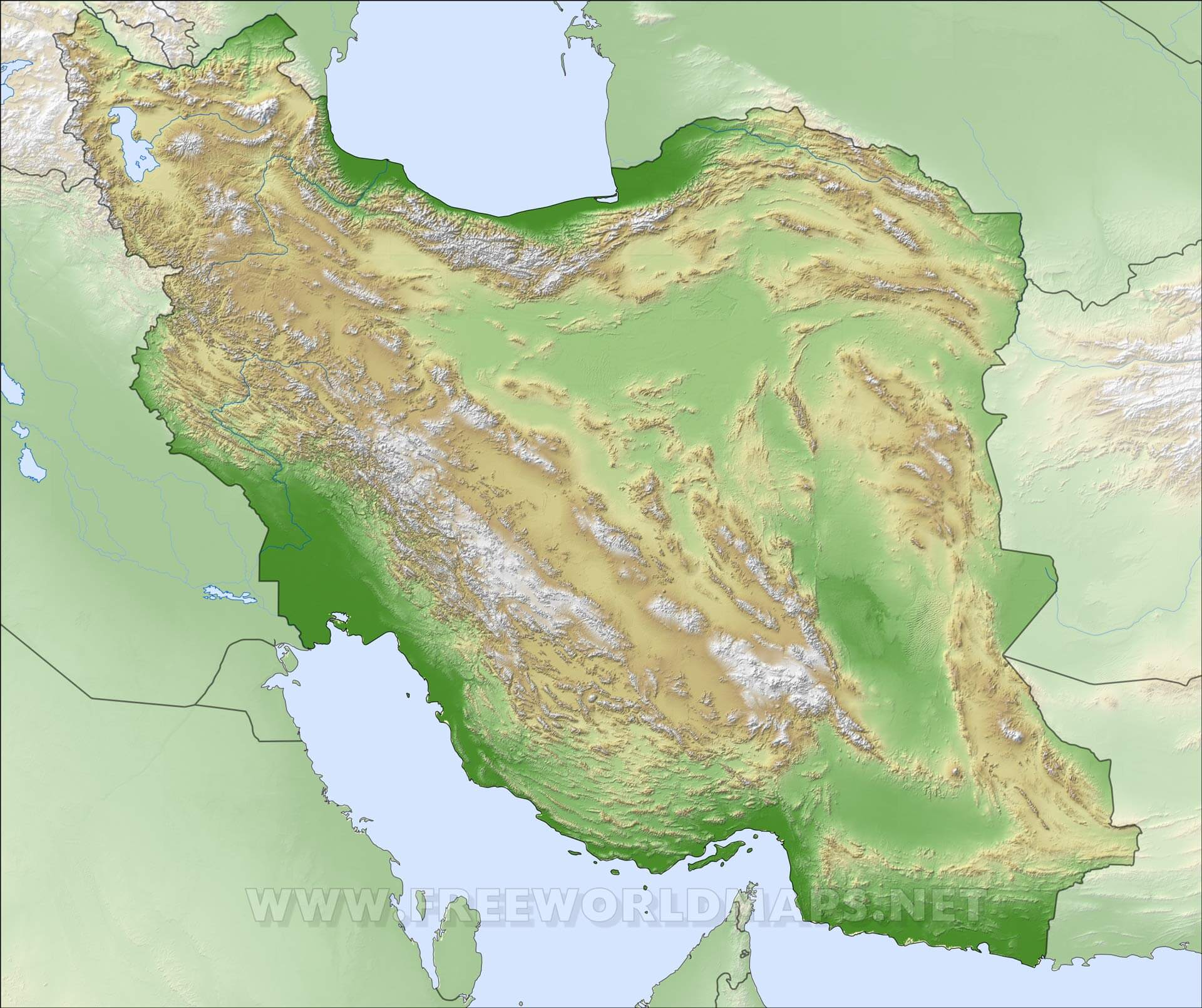 Iran Physical Map
