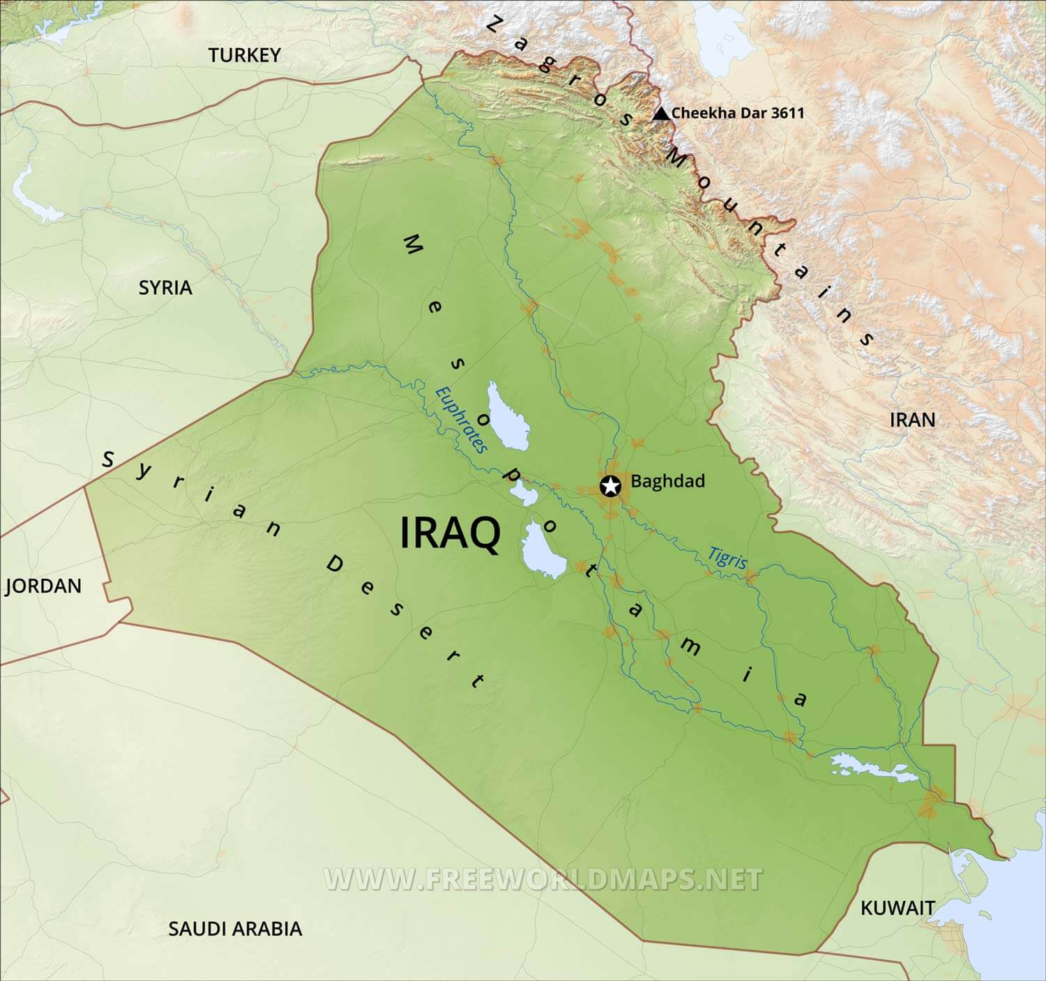 Map Of Asia Euphrates River.Iraq Physical Map