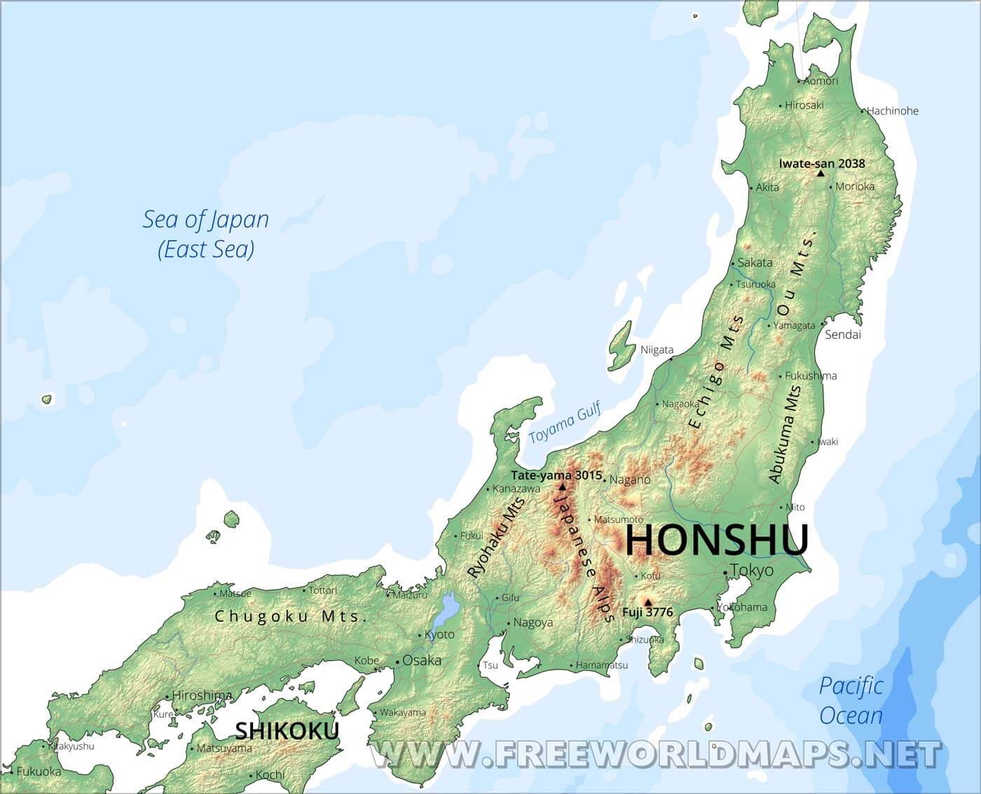 Honshu Physical Map