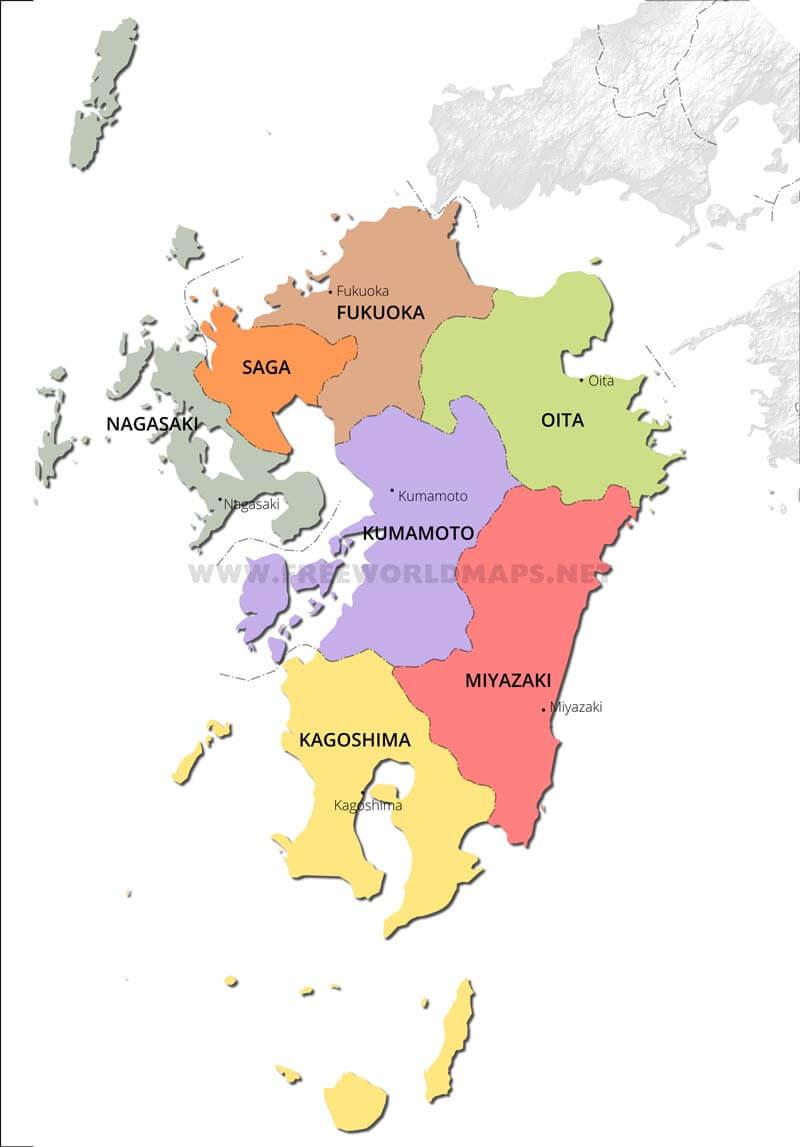 Kyushu Physical Map