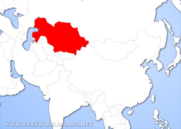 Where is Kazakhstan located on the World map? on iraq on world map, south africa on world map, tajikistan on world map, germany on world map, laos on world map, iran on world map, qatar on world map, egypt on world map, taiwan on world map, luxembourg on world map, latvia on world map, tibet on world map, algeria on world map, ukraine on world map, kuwait on world map, lesotho on world map, azerbaijan on world map, gabon on world map, kenya on world map, indonesia on world map,