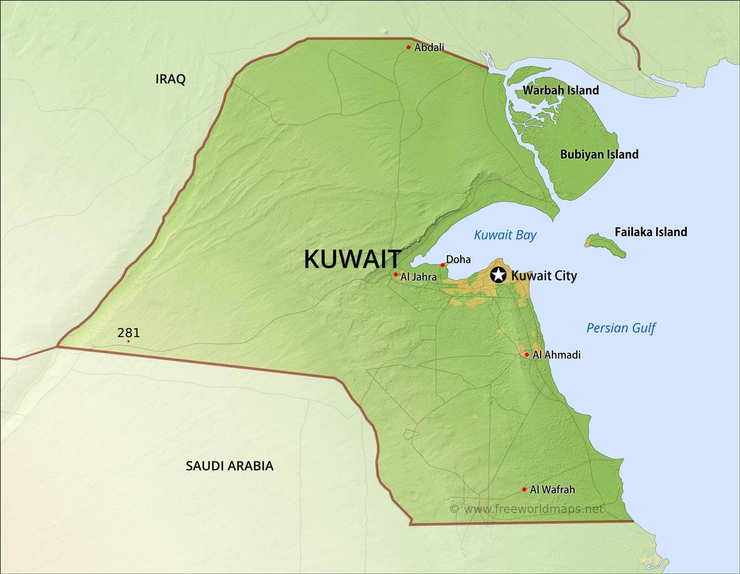 Map Of Kuwait Kuwait Physical Map