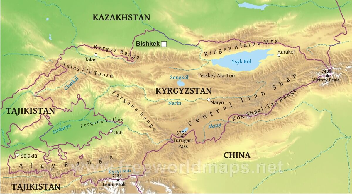 Kyrgyzstan Physical Map on mexico map, macedonia map, afghanistan map, moldova map, russia map, uyghur people, dagestan map, central asia, malta map, ukraine map, turkic peoples, kazakhstan map, tian shan, malawi map, asia map, kandahar map, turkmenistan map, germany map, armenia map, tajikistan map, korea map, turkistan map, turkey map, political map,
