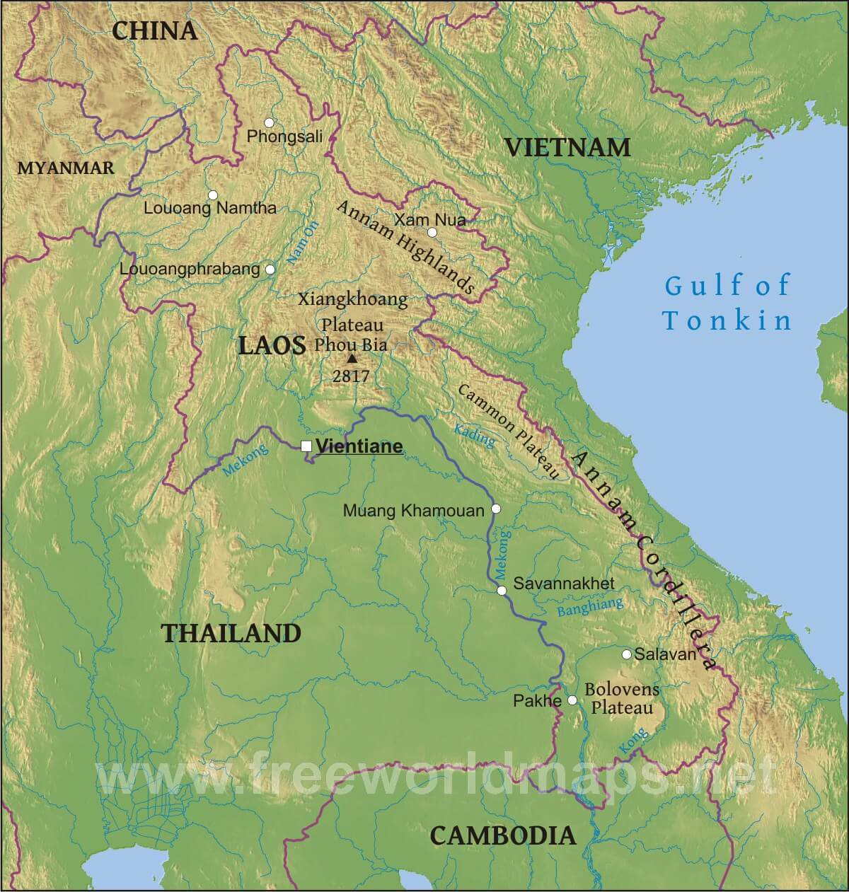 Map Of Asia Gulf Of Tonkin.Laos Physical Map