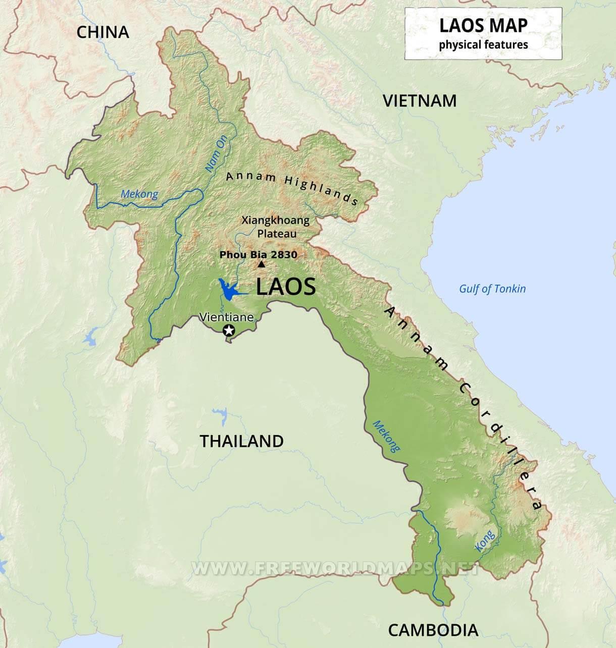 Laos Physical Map