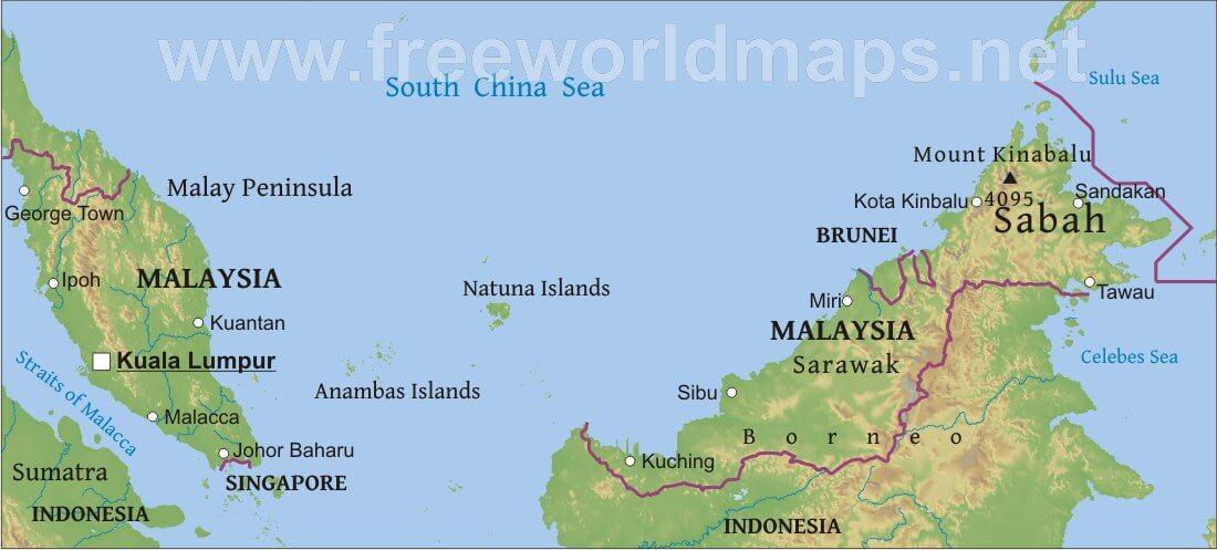 Map Of Asia Malaysia.Malaysia Physical Map