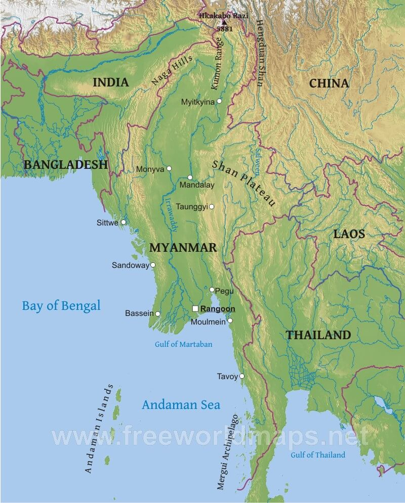 Myanmar physical map myanmar geographical features gumiabroncs Gallery
