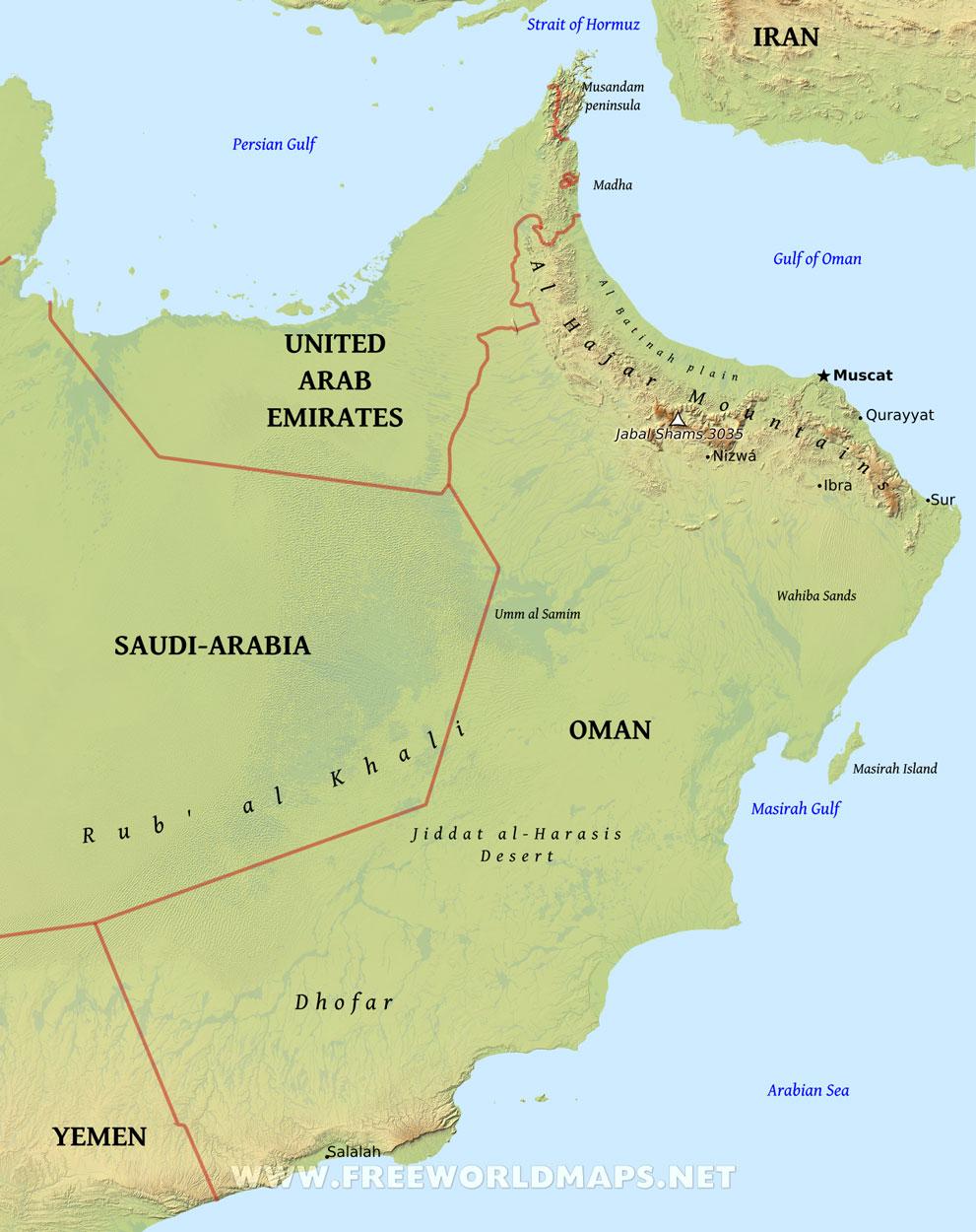 Oman Physical Map