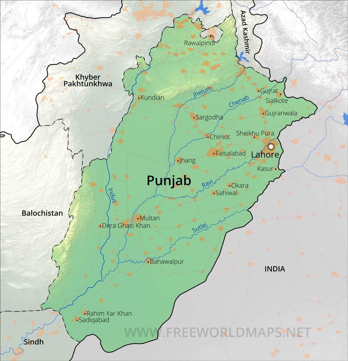 pakistan punjab map with districts Punjab Maps pakistan punjab map with districts