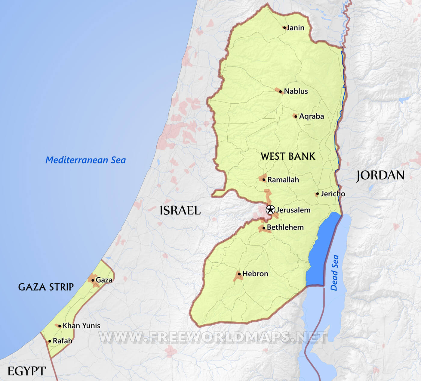 Palestine Maps By Freeworldmaps Net