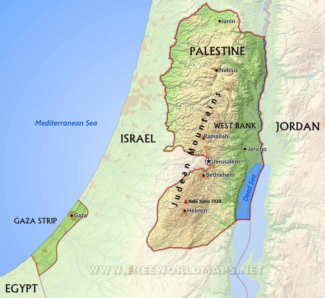 Map Of Palestine Palestine Maps   by FreeWorldMaps.net Map Of Palestine