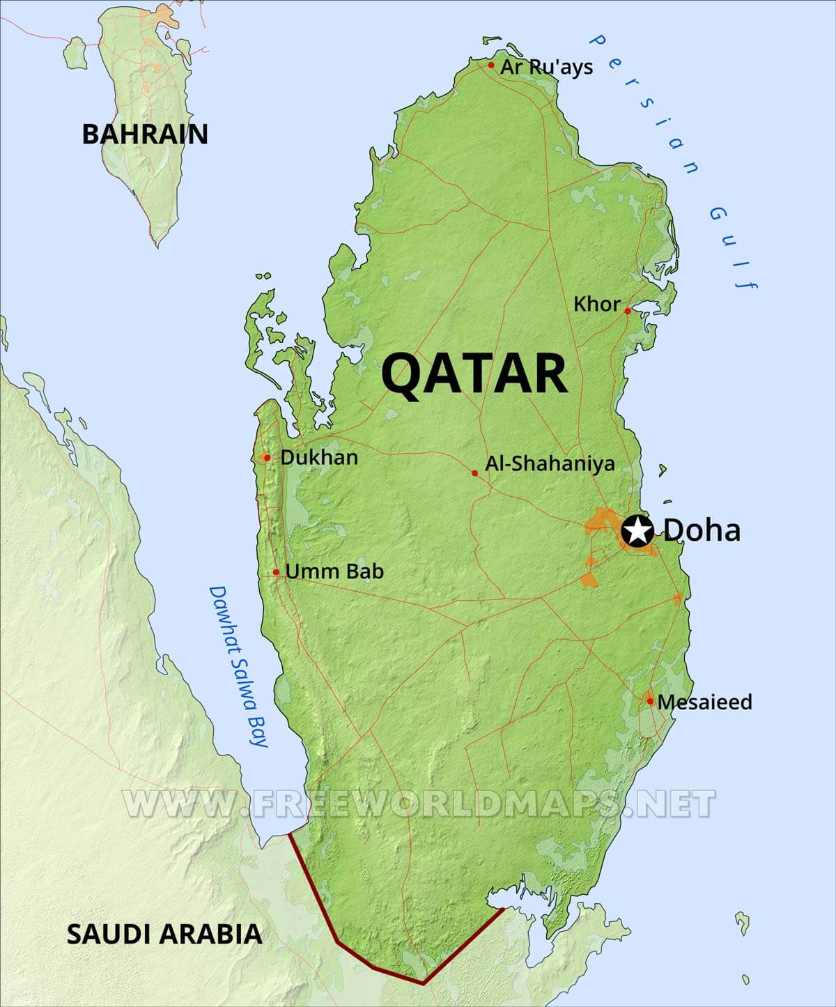 Qatar Physical Map on jordan on a map, arabian peninsula on a map, arabian sea on a map, middle east on a map, baghdad on a map, west bank on a map, gaza strip on a map, turkmenistan on a map, tunisia on a map, russia on a map, swaziland on a map, iran on a map, dead sea on a map, singapore on a map, kuwait on a map, bahrain on a map, palestine on a map, turkey on a map, cyprus on a map, kirkuk on a map,