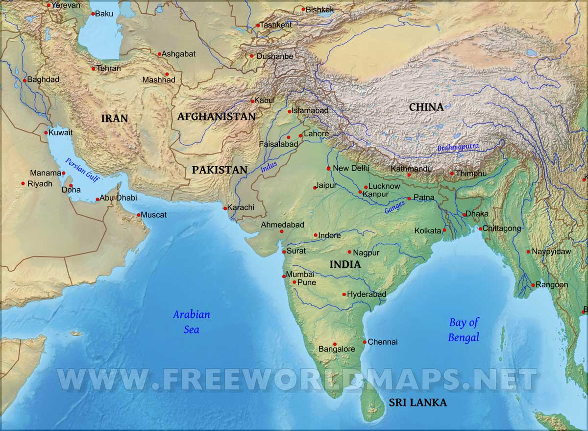 Physical Map Of South Asia South Asia Physical Map