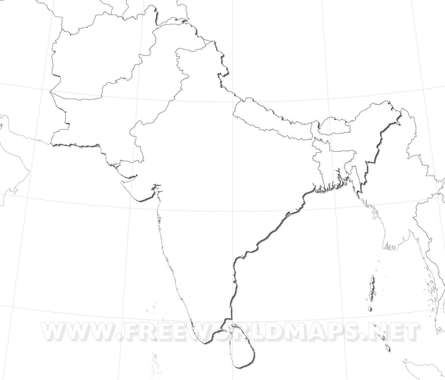 Empty Political Map Of Asia.South Asia Maps
