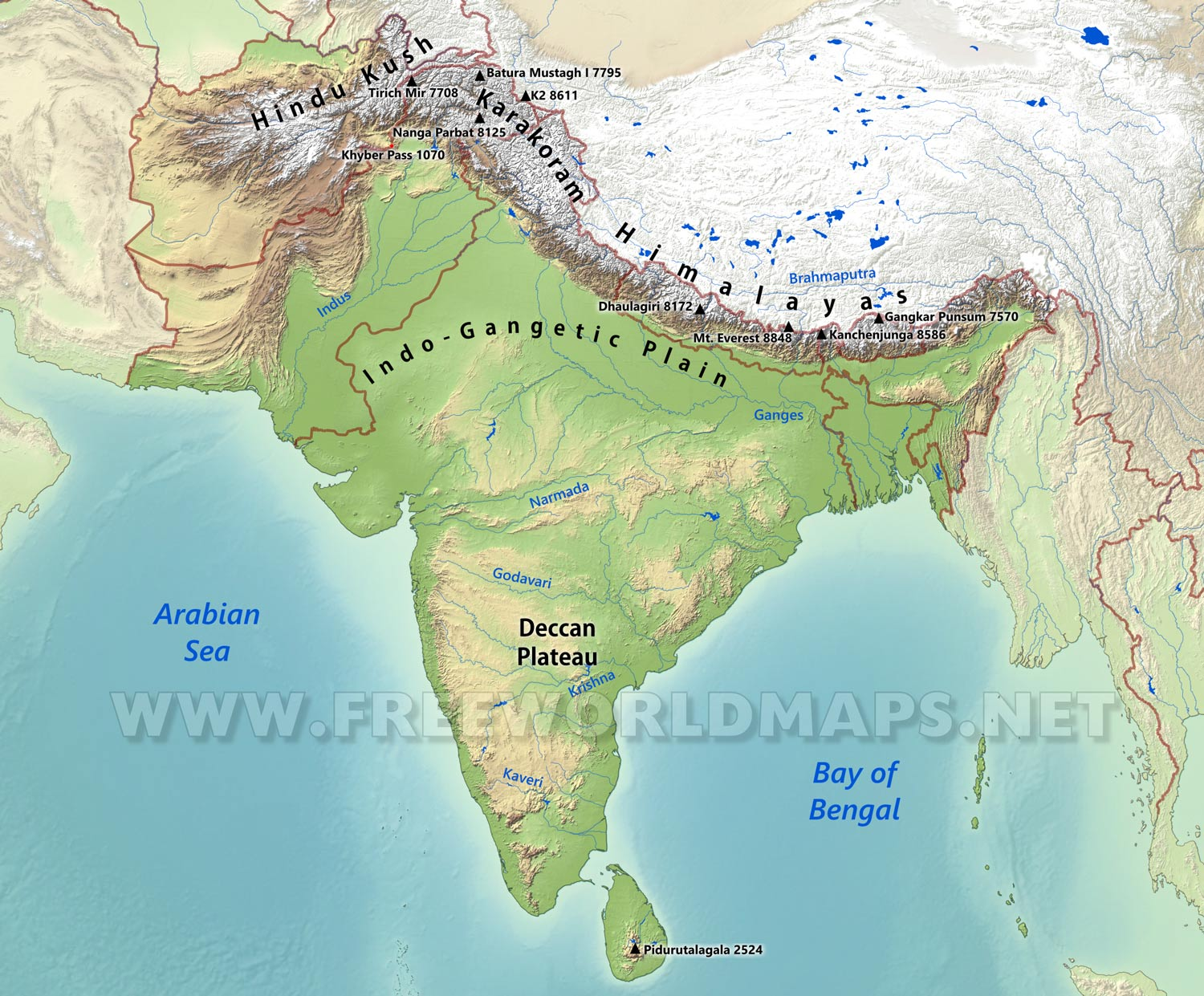 Image of: South Asia Physical Map