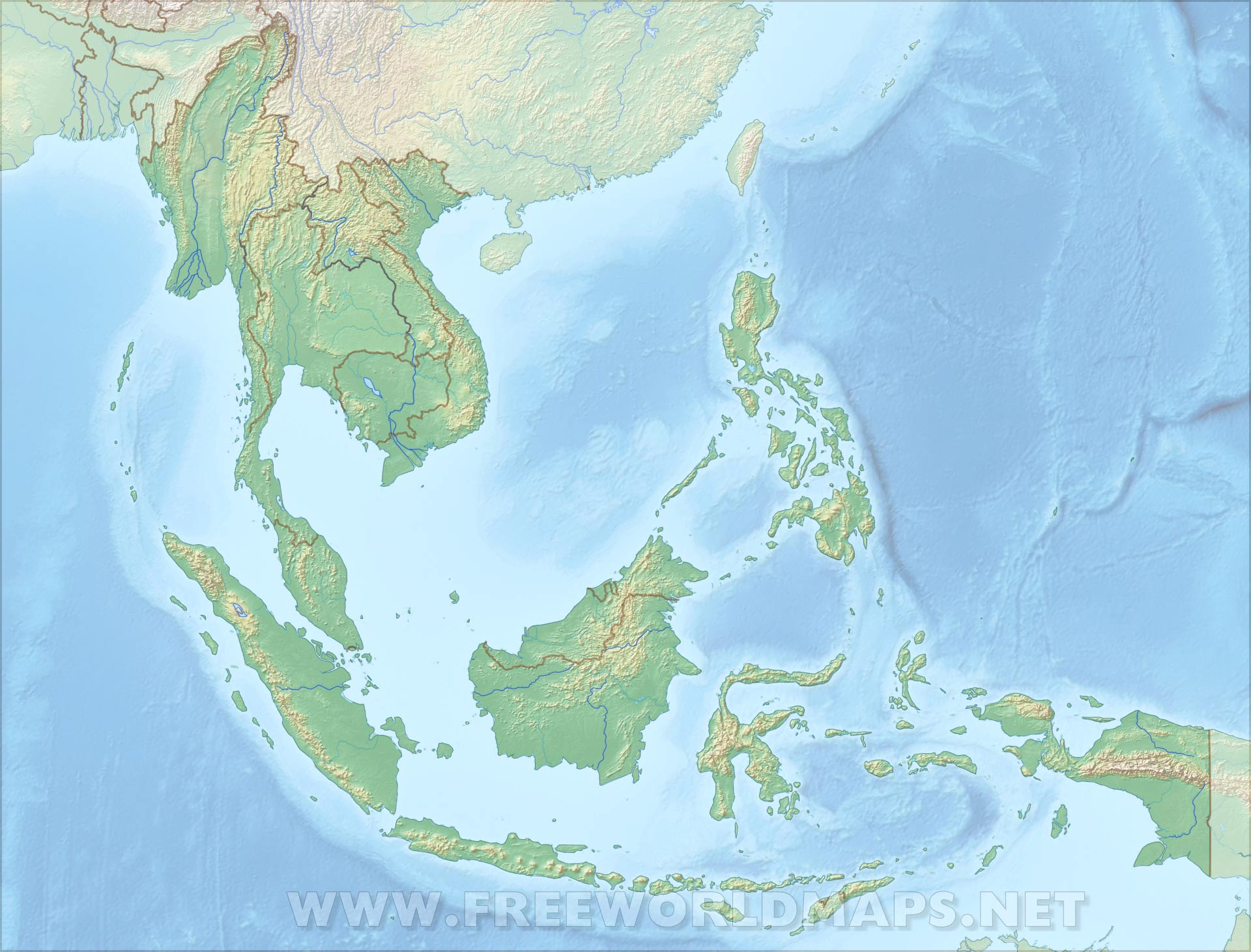 Map Of Asia High Resolution.Southeast Asia Physical Map