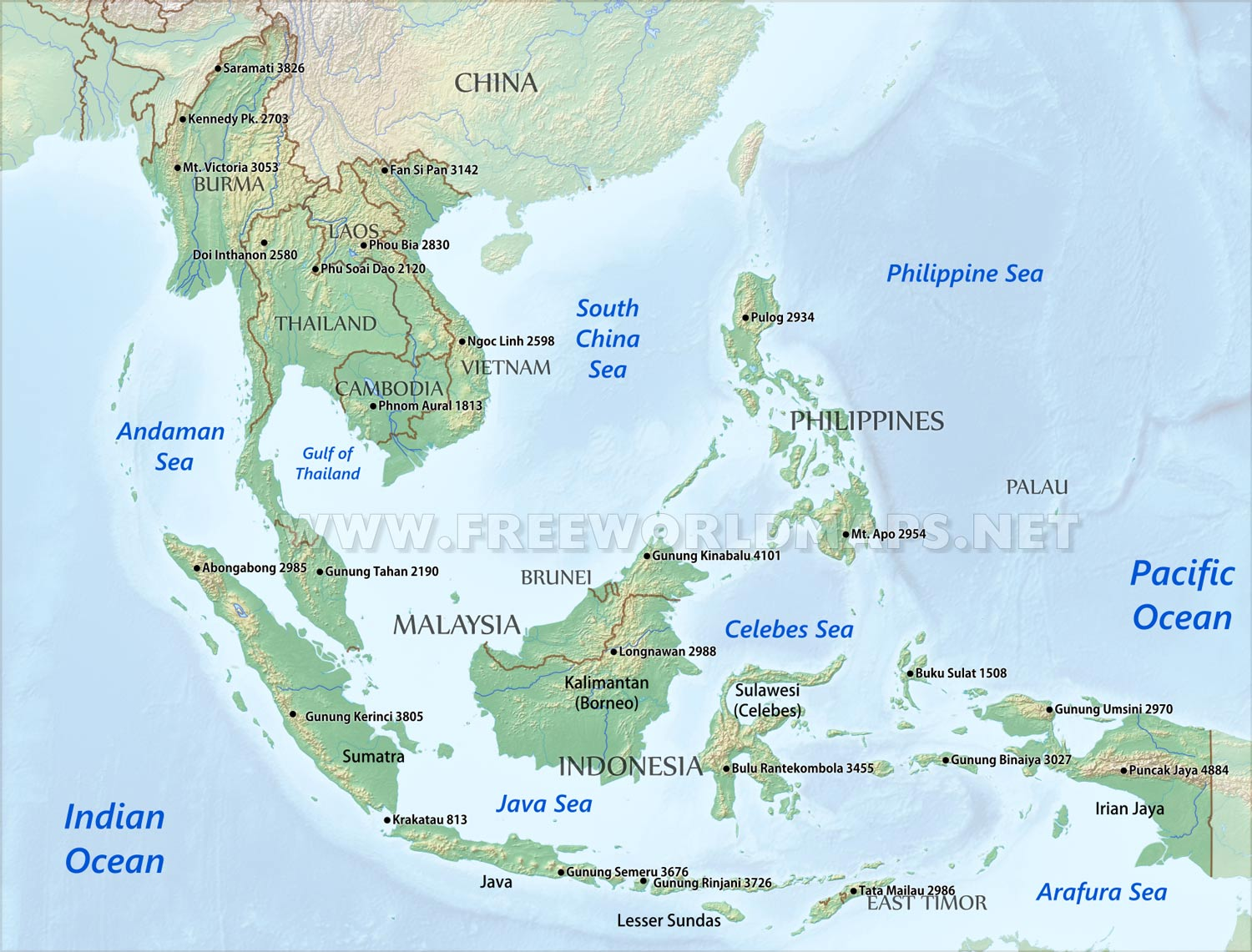 Se Asia Physical Map Physical map of Southeast Asia