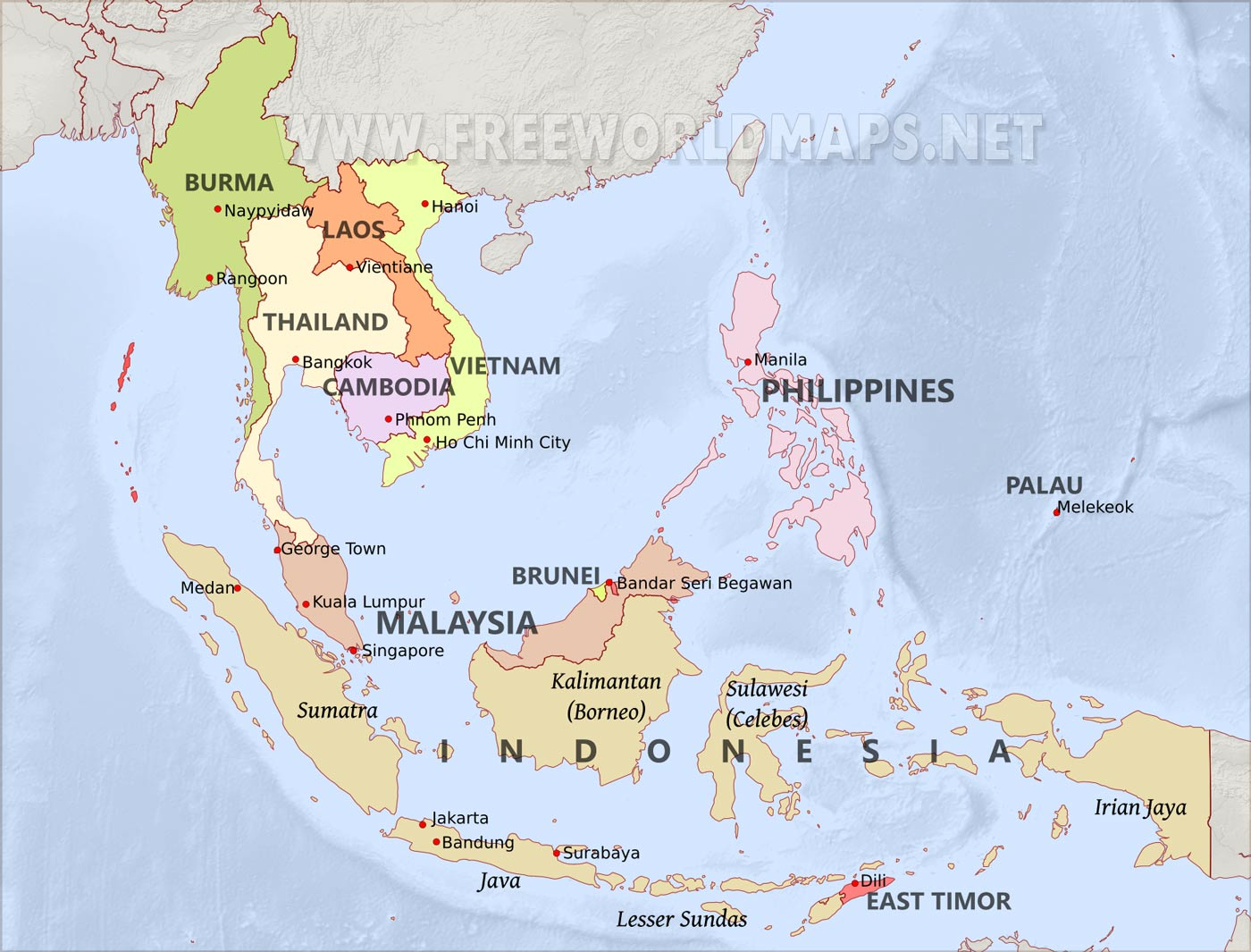 A Map Of East Asia.Southeast Asia By Freeworldmaps Net