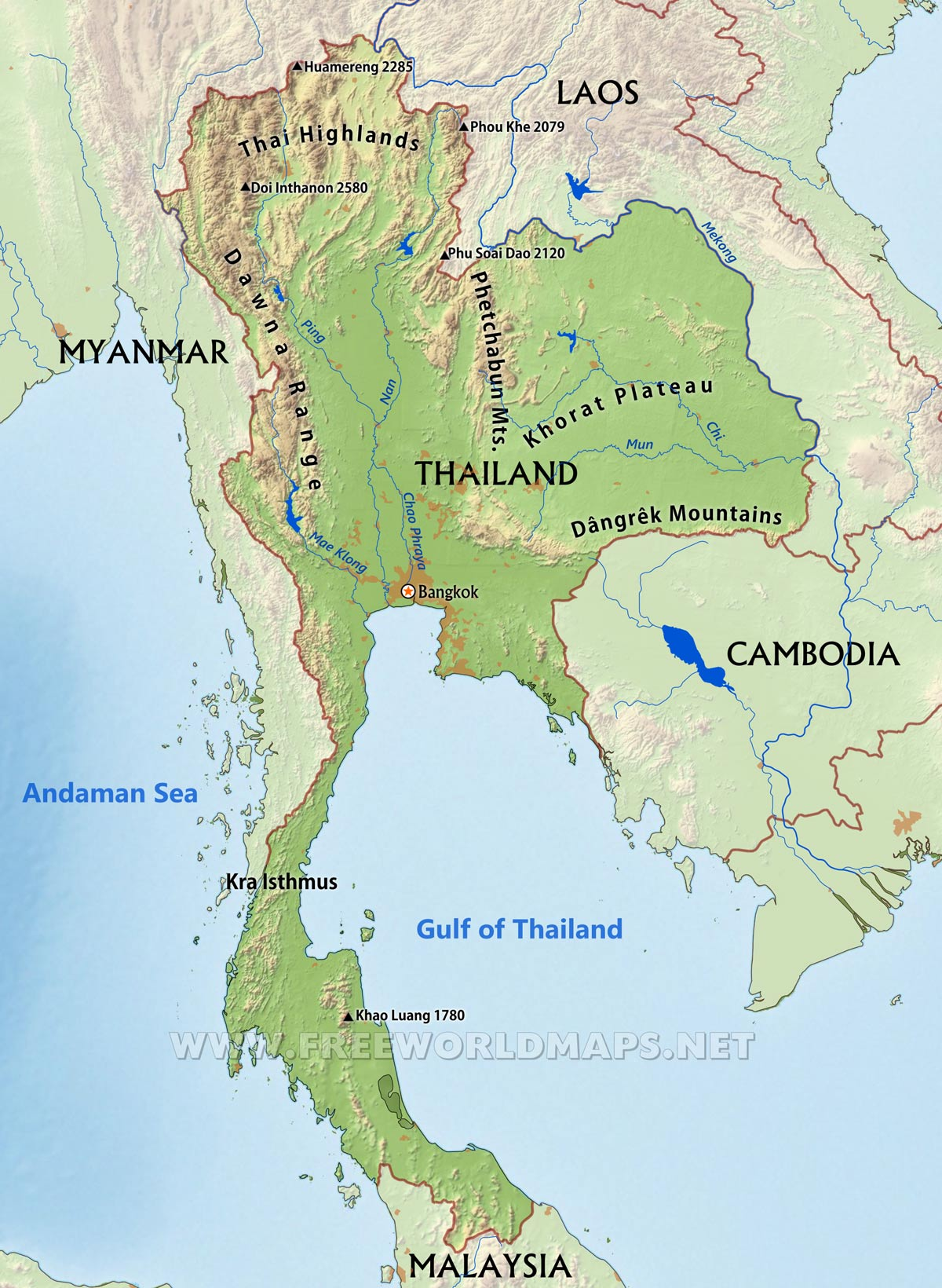 Image of: Thailand Physical Map