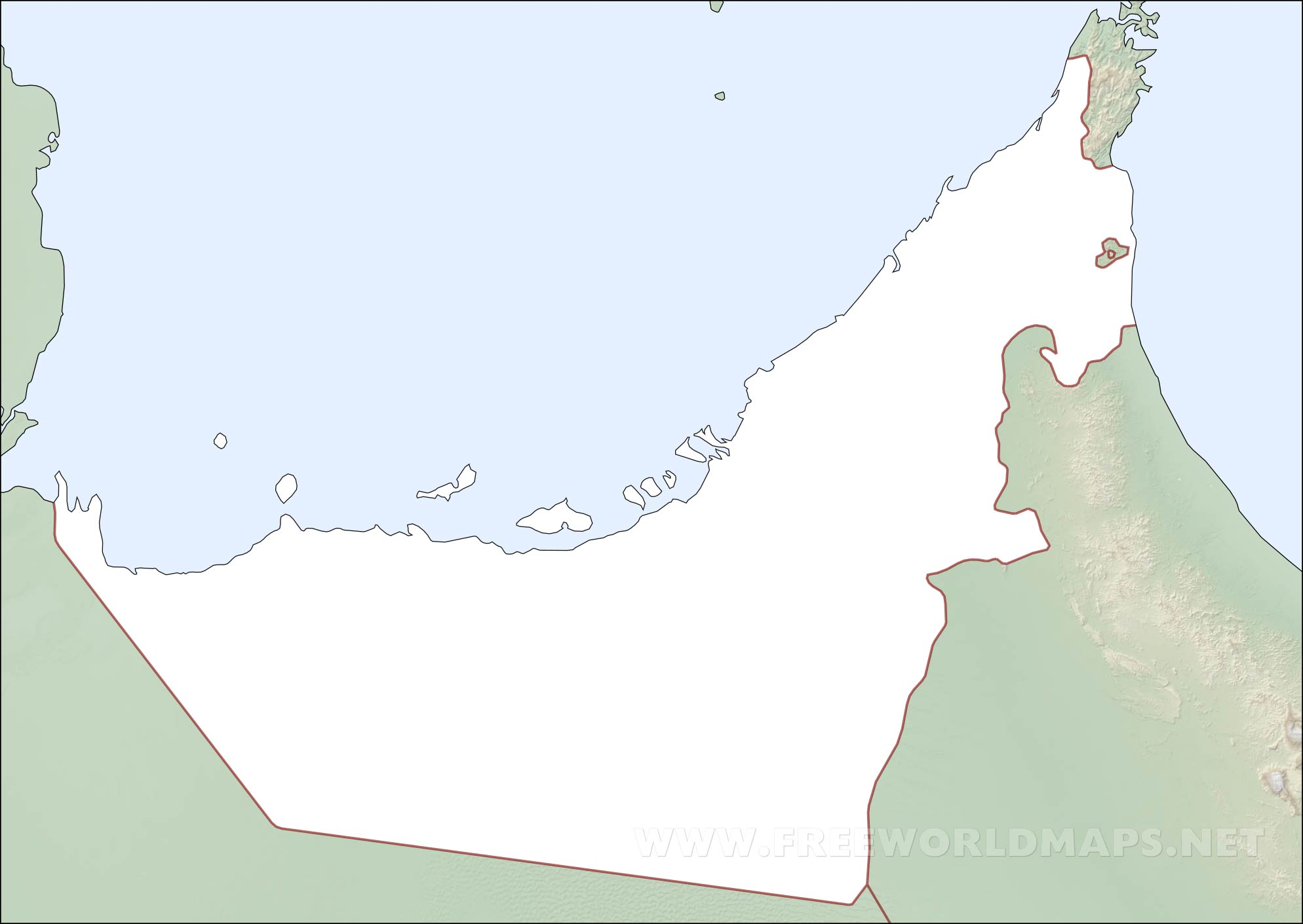 United Arab Emirates Physical Map