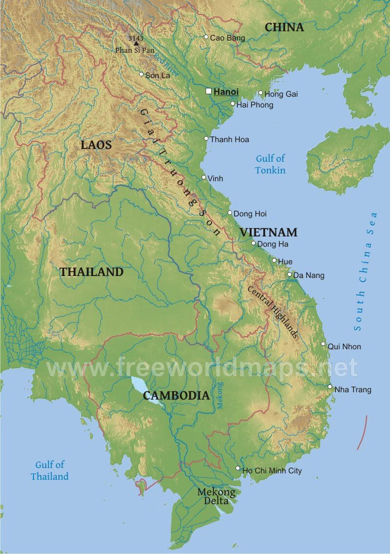 Map Of Asia Showing Vietnam.Vietnam Physical Map