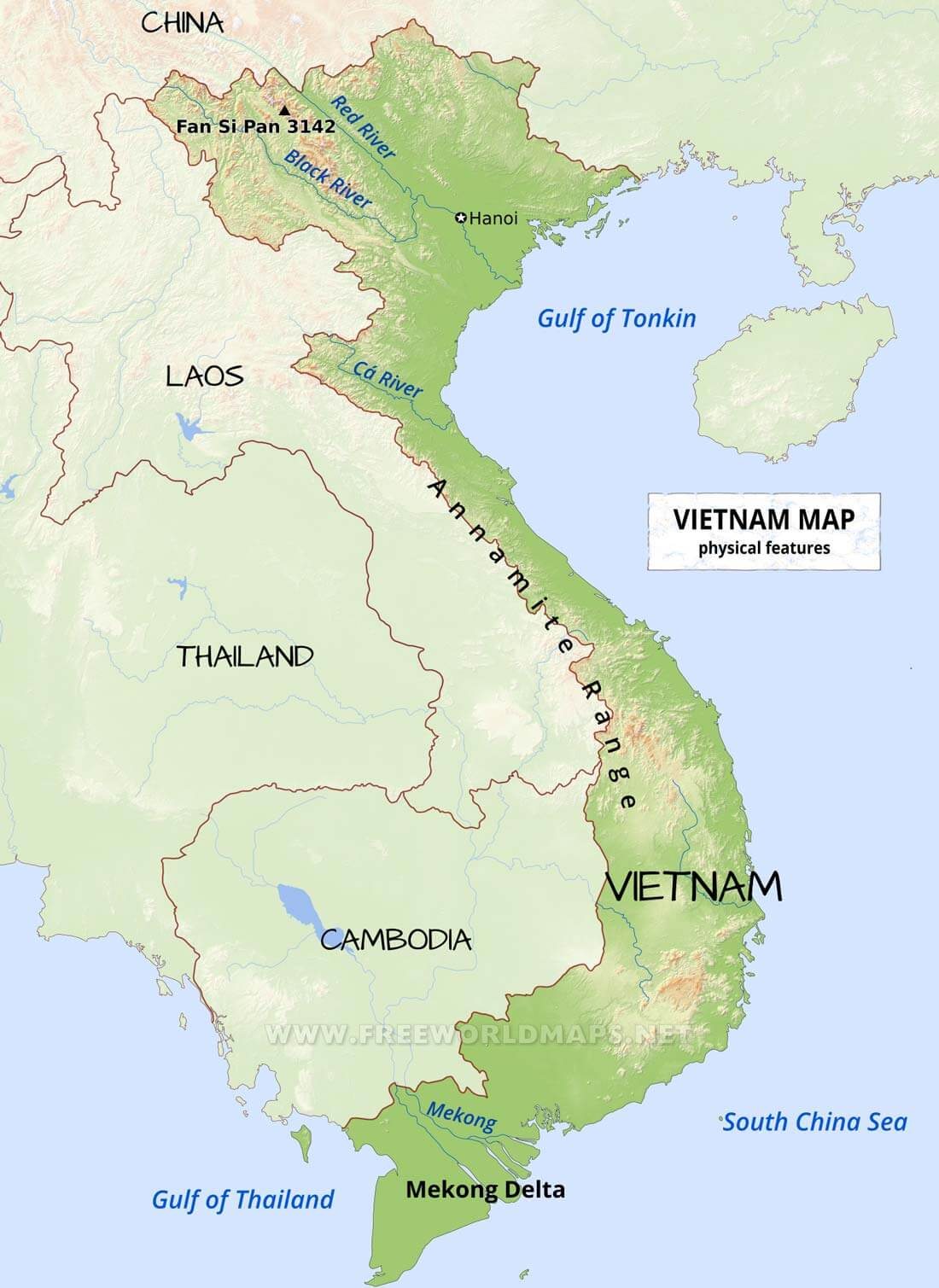 Image of: Vietnam Physical Map