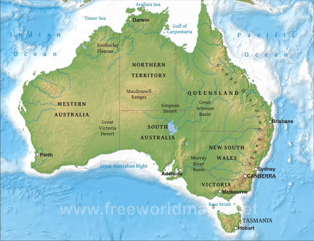 Australia In World Map.Australia Physical Map Freeworldmaps Net