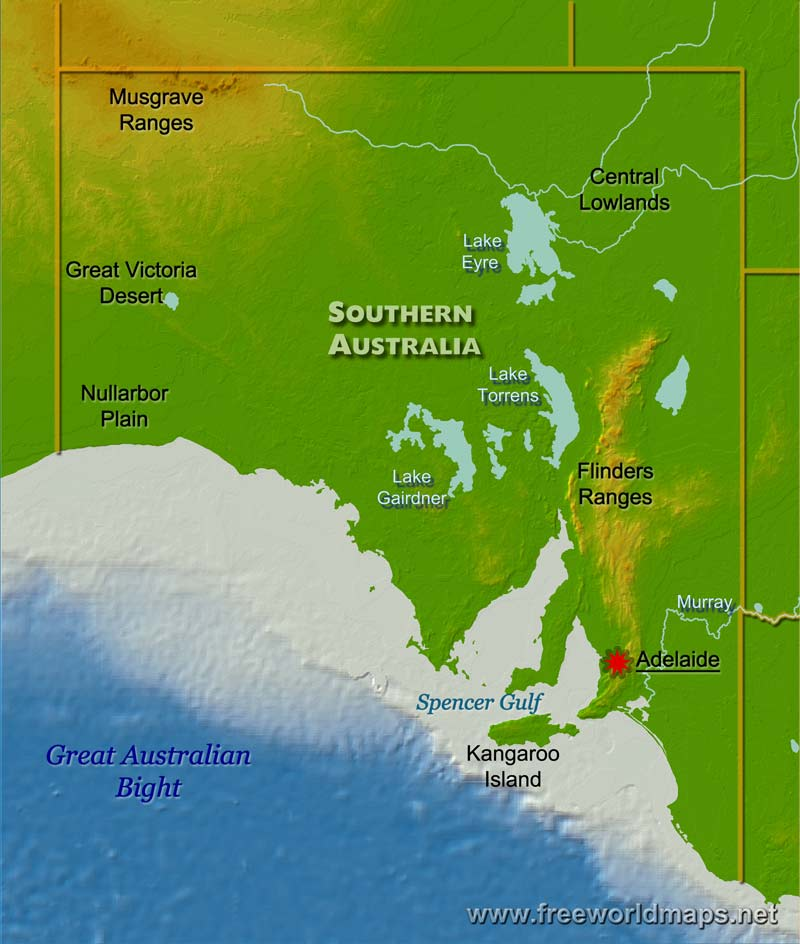 Australia Map Physical Features.Physical Map Of South Australia Australia