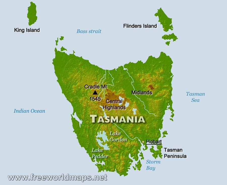 Map Of Australia And Tasmania.Physical Map Of Tasmania Australia