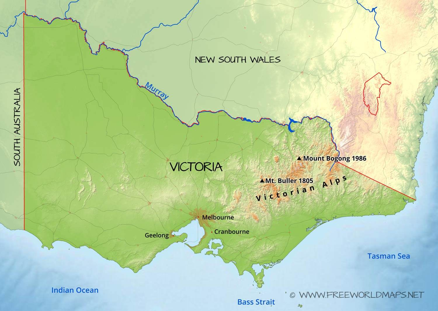 Map Australia Victoria.Physical Map Of Victoria Australia