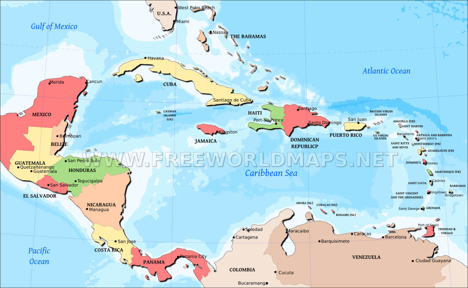 Caribbean map, countries of the Caribbean