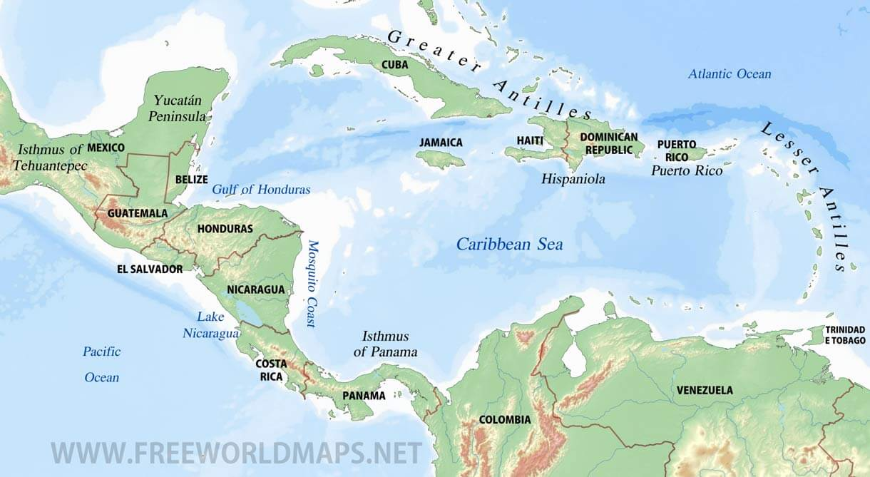 Image of: Caribbean Physical Map Freeworldmaps Net