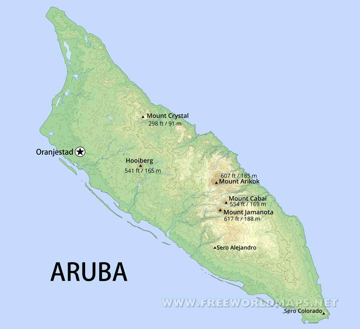 Aruba Map; Geographical features of Aruba of the Caribbean ...